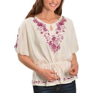 Ariat Floral Embroidered Tunic Cinch Waist Shirt